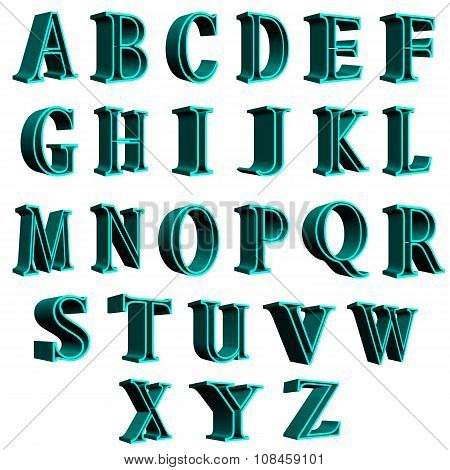 3D english alphabet letters blue letters