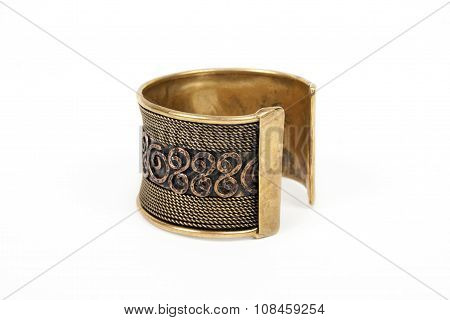 Iron fashion bracelet with gold chain on a white background
