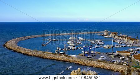 View of the tourist harbor of Rodi Garganico
