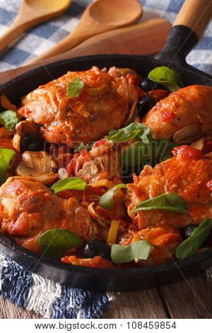 Italian Food: Chicken With Tomato And Vegetables. Vertical