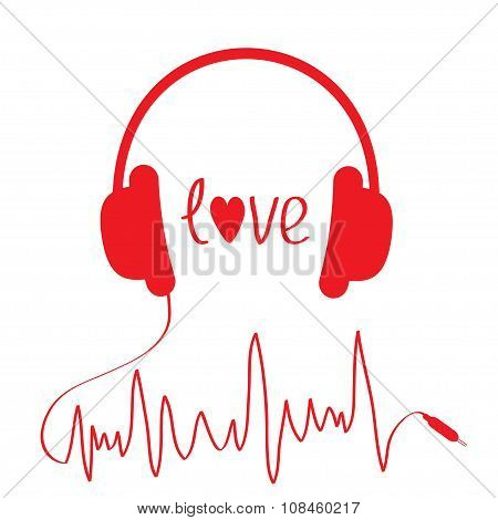 Red Headphones With Cord  In Shape Of Cardiogram. Isolated. Love