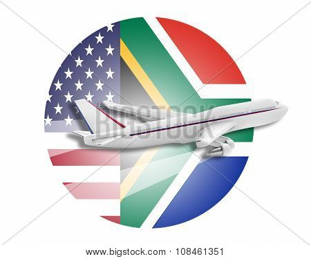 Plane, United States and South Africa flags.
