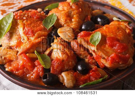 Italian Food: Chicken Cacciatori On A Plate Close-up. Horizontal
