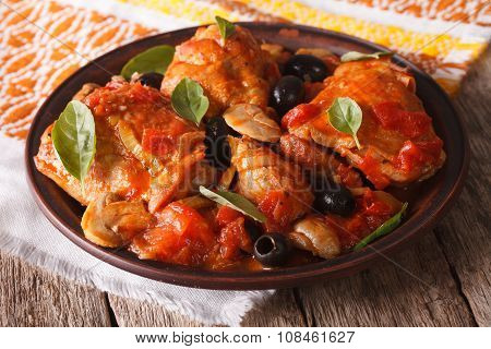 Homemade Cacciatori Chicken On A Plate Close-up. Horizontal