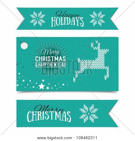 Illustration Of Colorful Paper Cards And Ribbons With Happy Holidays And Merry Christmas Lettering.