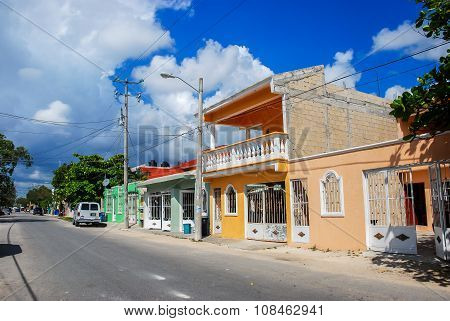 Empty street of old town Tulum in Mexico