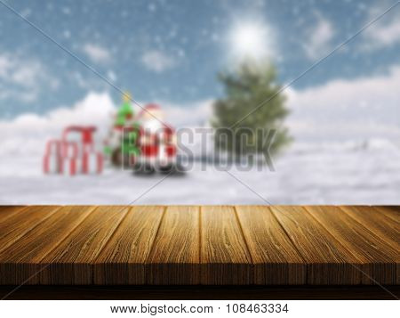 3D render of a wooden table with a defocussed Christmas Santa landscape in the background