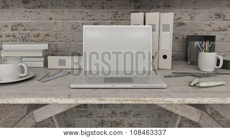 3D render of a laptop with a blank screen on shelf