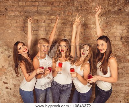 Beautiful Young Women Wearing Dress Code Celebrating Hen-party With Sparkling Wine