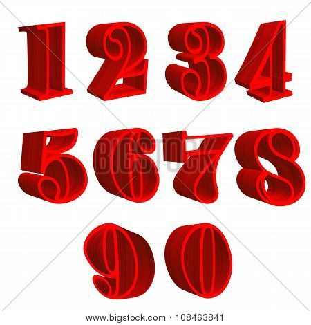 3D red wooden numbers