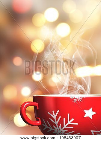 3D render of a steaming Christmas mug on a bokeh lights background
