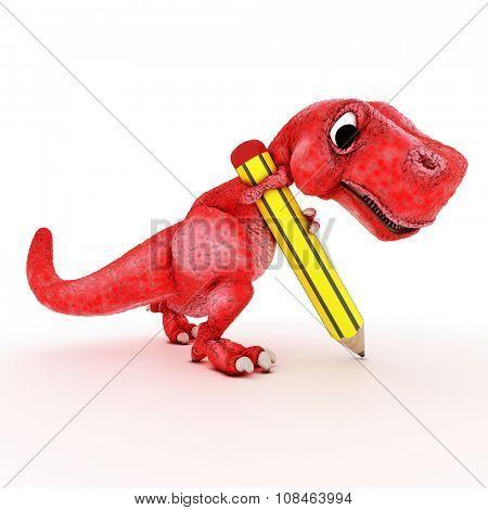 3DS Render of Friendly Cartoon Dinosaur