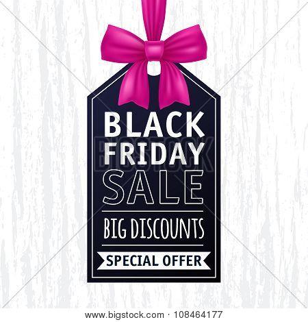 Black friday sale tag illustration. Advertising design.