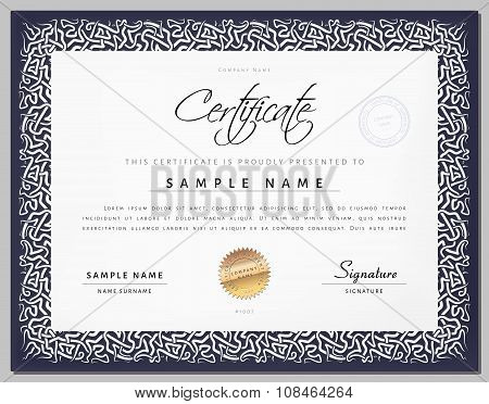 Gift Vintage Certificate / Diploma / Award Template With Border As Celtic Pattern In Vector