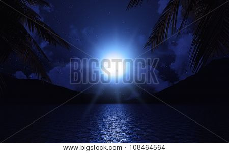 3D render of a lake with palm trees against a cloudy moonlit sky