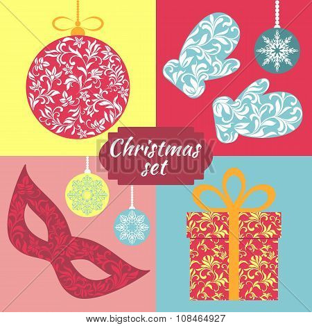 Christmas Set. Christmas Balls, Toys, Mittens, Carnival Mask And Gift. All Objects  With Floral Trac