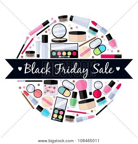 Cosmetics make-up beauty accessories illustration. Black friday sale.
