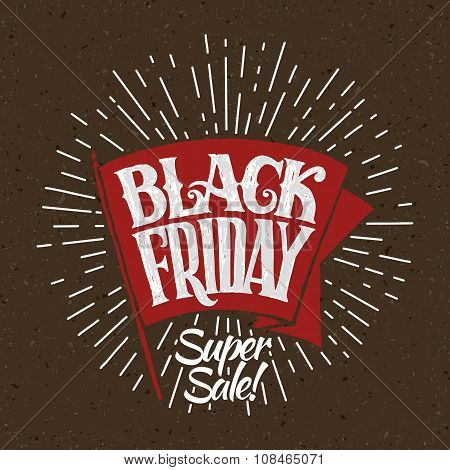 vector illustration Black Friday and light rays