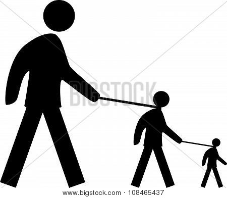 Man Holding Another Man On Leash