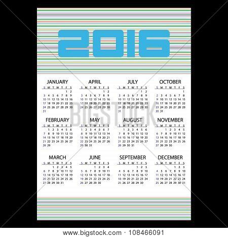 2016 Simple Business Wall Calendar With Color Stripes Eps10