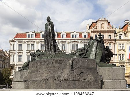 Monument of Jan Hus in Old Town Square. Prague. Czech Republic.