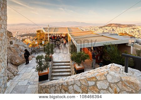 Coffee shop on Lycabettus Hill.