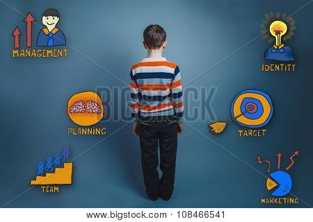 Teen boy is turned away backward collection of business icons ma