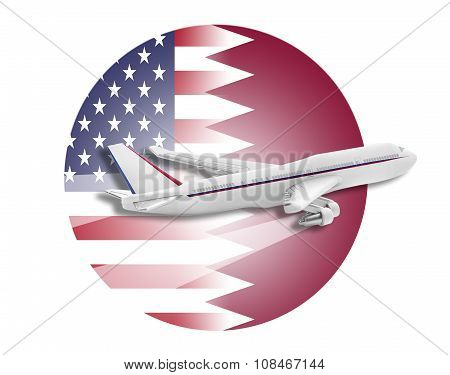 Plane, United States and Qatar flags.