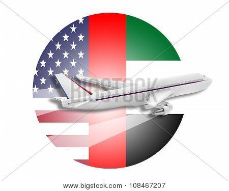 Plane, United States and United Arab Emirates flags.