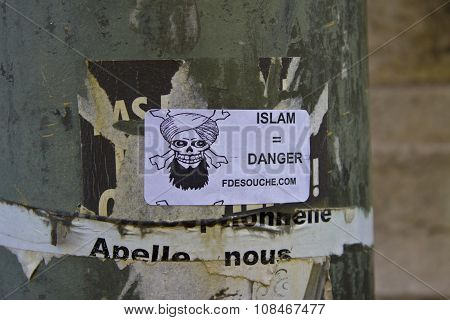Paris - Circa May 2011: A Sticker In France Proclaiming Islam As A Danger
