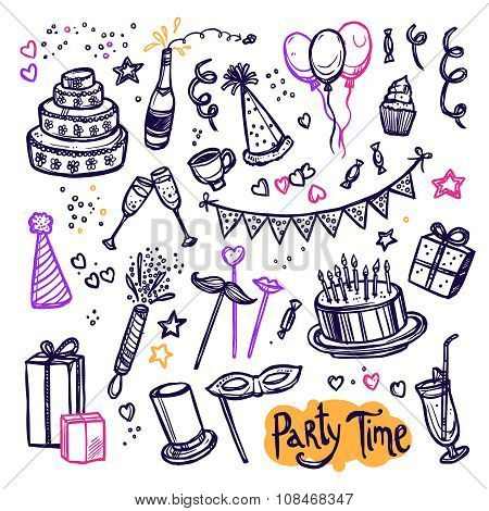 Birthday party doodle pictograms collection arrangement