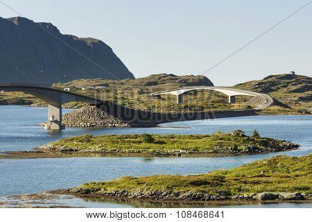 Modern Bridges On Lofoten Islands In Norway