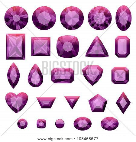Set of realistic purple jewels. Amethysts.