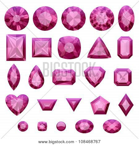 Set of realistic pink jewels. Rubies isolated.
