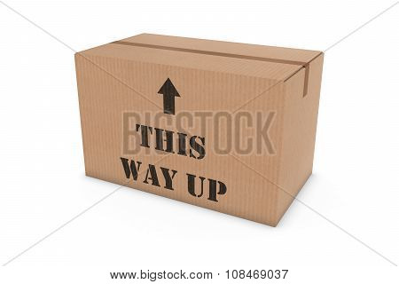 This Way Up Stenciled Cardboard Box Isolated On White Background