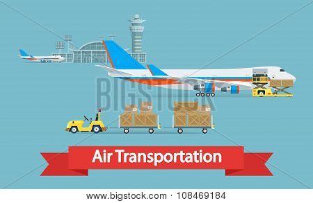 Air cargo transportation concept. Flat style illustration.