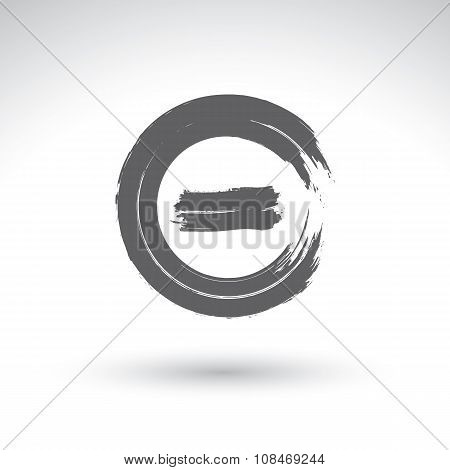 Brush drawing minus press button hand-painted navigation symbol isolated on white background.