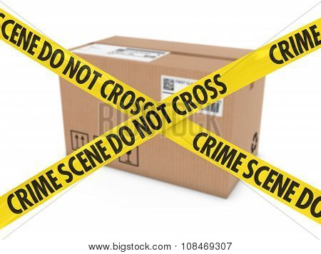 Suspicious Parcel Concept - Cardboard Box Behind Crime Scene Tape