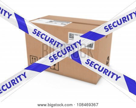 Suspicious Parcel Concept - Cardboard Box Behind Security Tape Cross