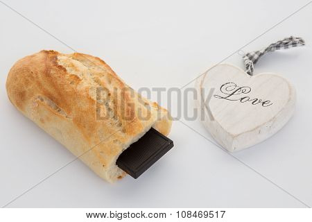 French Break, Baguette With Chocolate Isolated On White Background