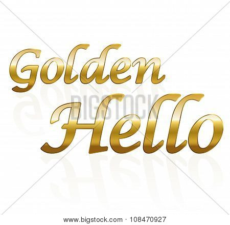 Golden Hello White Background