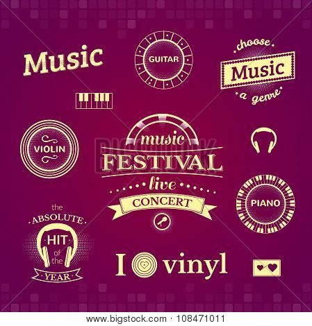 Music vector labels and logos illustrations