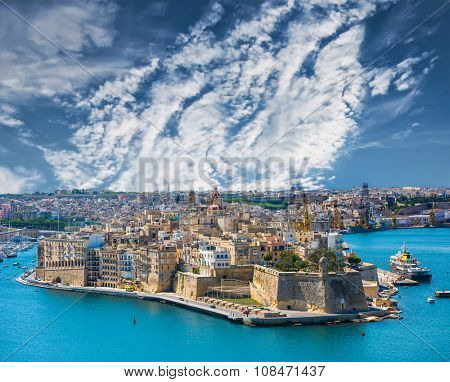 beautiful panoramic view on Valletta from the sea in Malta with blue sky