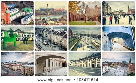 collage of Warsaw attractions and architecture details