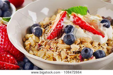 Breakfast With  Berries, Yogurt And  Muesli.