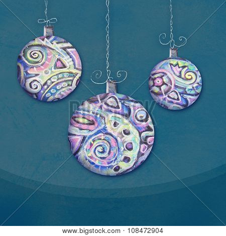 Christmas Toys. New Year Balls With Abstract Ethnic Inclusions. Good For Greeting Card Design. Hand