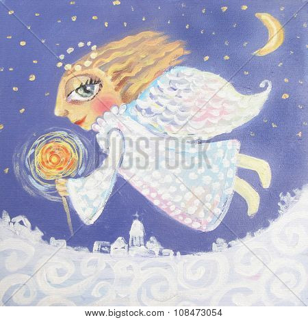 Illustration Of Cute Little Christmas Angel With Sparkler. Hand Painted Christmas Picture