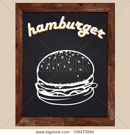 Hamburger Drawn With Chalk On A Black Background
