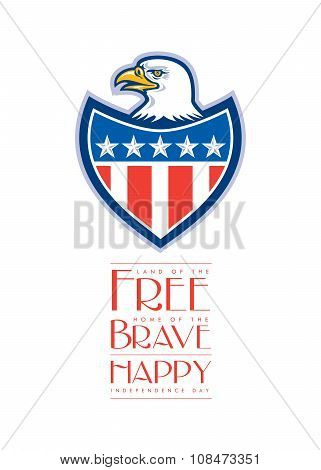 Independence Day Greeting Card-american Bald Eagle Flag Shield