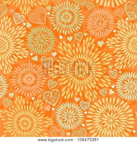 Seamless Pattern With Colorful Flowers And Hearts.